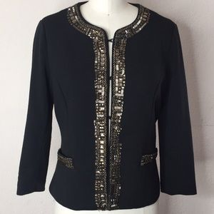 Jackets & Blazers - Black Embelished  Rhinstone Blazer L